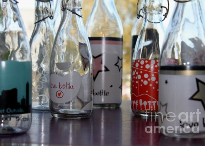 Bottles Greeting Card featuring the pyrography Bottles by Tanja Hymel