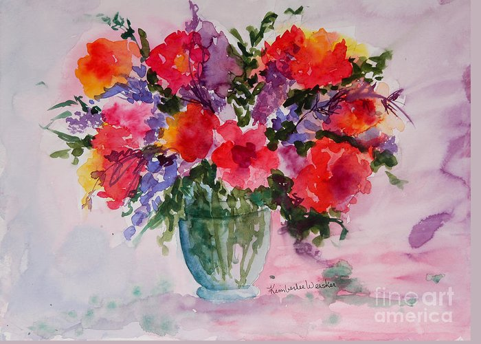 Floral Bouquet Greeting Card featuring the painting Bouquet Of Wishes by Kimberlee Weisker