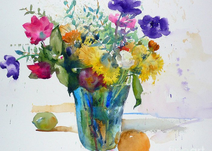 Watercolor Greeting Card featuring the painting Bouquet Study With Anemones by Andre MEHU