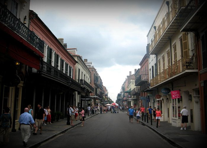 New Orleans Greeting Card featuring the photograph Bourbon St. by Mily Iriarte