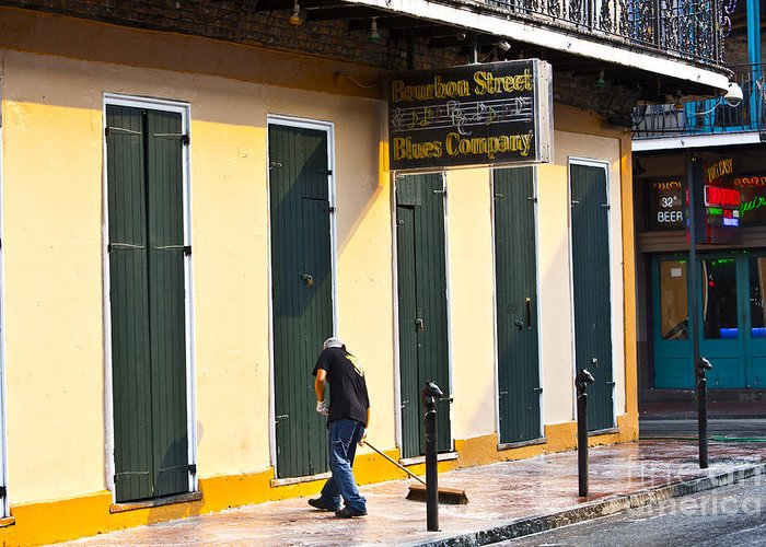New Orleans Greeting Card featuring the photograph Bourbon Street Morning by Leslie Leda