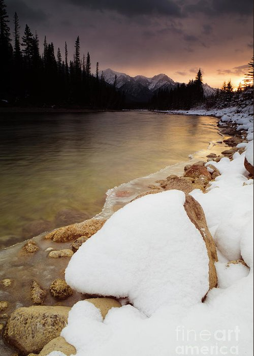 Bow River Greeting Card featuring the photograph Bow River Sunrise by Ginevre Smith