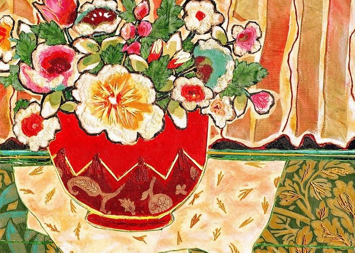 Still Life Greeting Card featuring the mixed media Bowl And Blossoms by Diane Fine