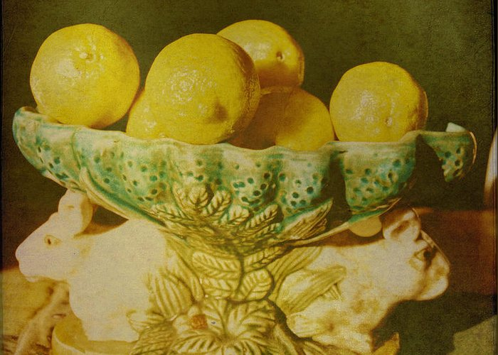 Still Life Greeting Card featuring the photograph Bowl Of Lemons by Jan Amiss Photography