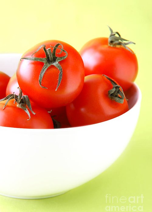 Vegetable Greeting Card featuring the photograph Bowl Of Tomatoes by HD Connelly