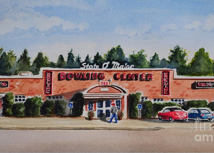 Greeting Card featuring the painting Bowling Center by Andrea Timm
