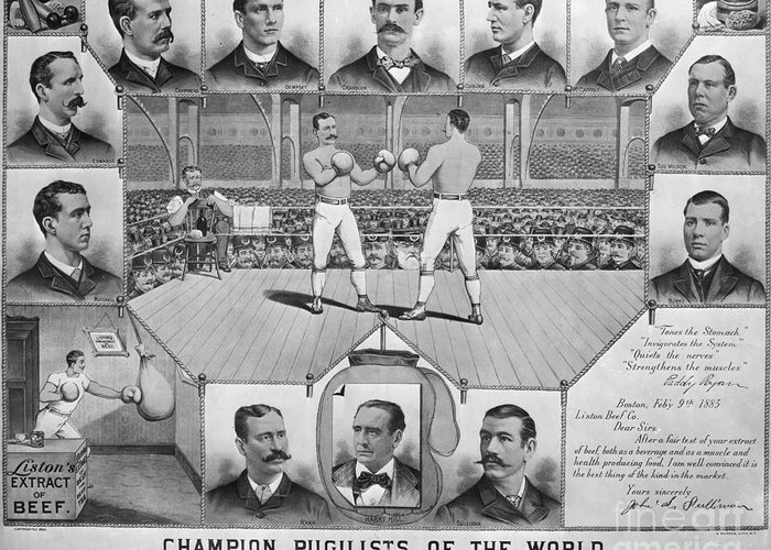 1885 Greeting Card featuring the photograph Boxing: American Champions by Granger