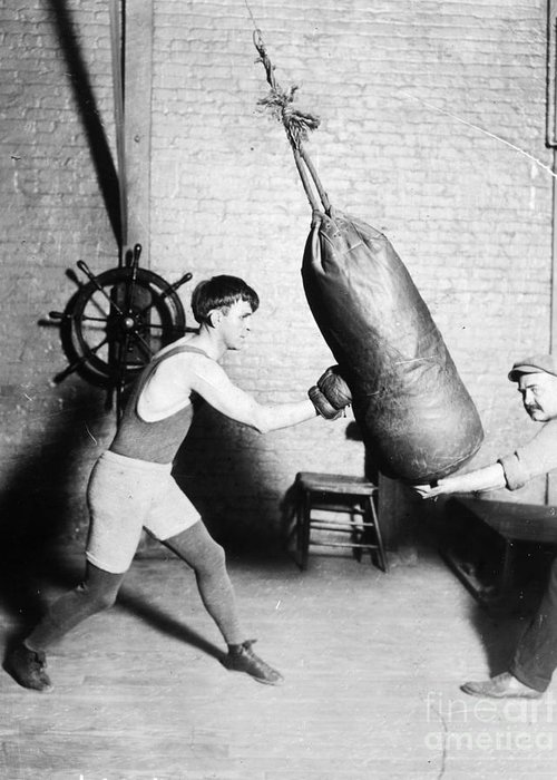 1920 Greeting Card featuring the photograph Boxing: Bat Nelson, 1920 by Granger