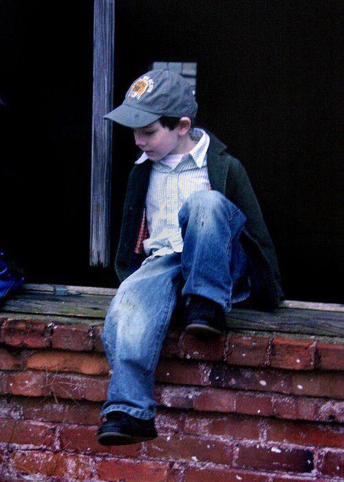 Mischief Greeting Card featuring the photograph Boy In Window by Kelly Hazel