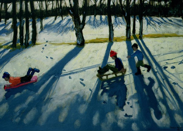 Sledge Greeting Card featuring the painting Boys Sledging by Andrew Macara