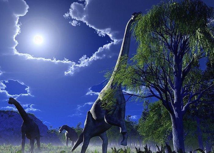 Brachiosaurus Greeting Card featuring the photograph Brachiosaurus Dinosaurs, Artwork by Roger Harris