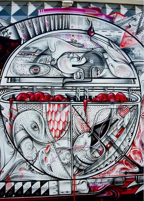 Graffiti Greeting Card featuring the photograph Brain Spillover by Armando Perez