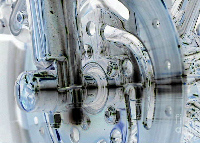 Harley Chrome Greeting Card featuring the photograph Braking For Chrome by Shannon Dunleavy