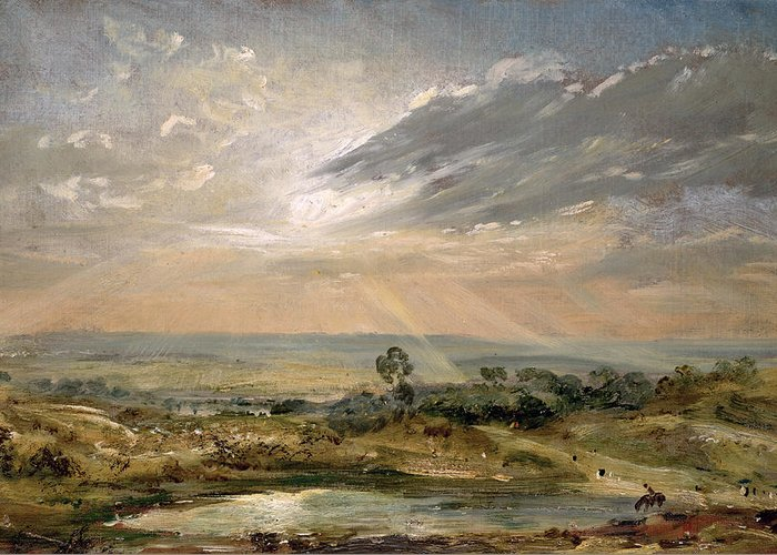 Sky; Landscape; Sunrise; Sunset; Dramatic; Romantic; Romanticism Greeting Card featuring the painting Branch Hill Pond Hampstead by John Constable