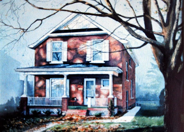 House Portrait From Photo Greeting Card featuring the painting Brant Avenue Home by Hanne Lore Koehler