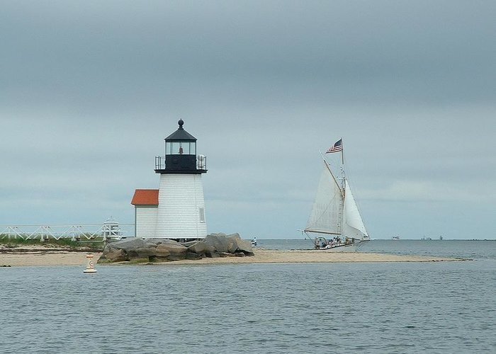 Sailboat Greeting Card featuring the photograph Brant Point Abeam by Lin Grosvenor