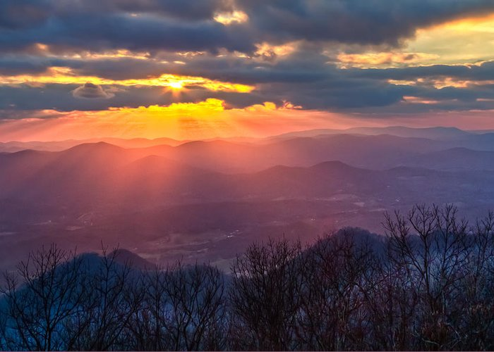 Appalachia Greeting Card featuring the photograph Brasstown Sunset by Debra and Dave Vanderlaan