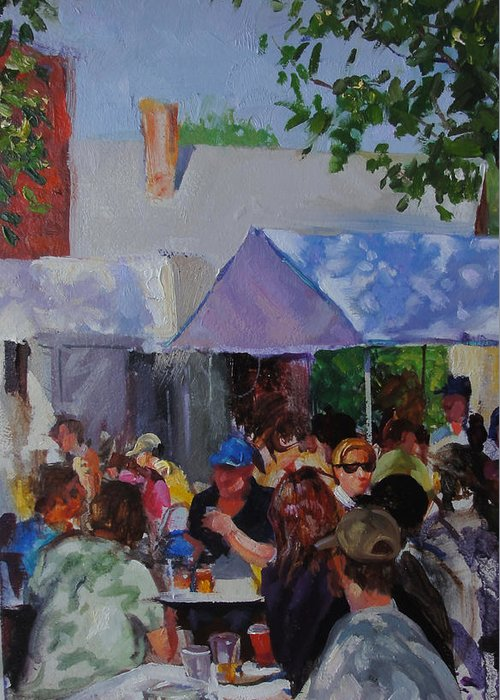 Drinking Beer Greeting Card featuring the painting Brewgarden by Ed Slack