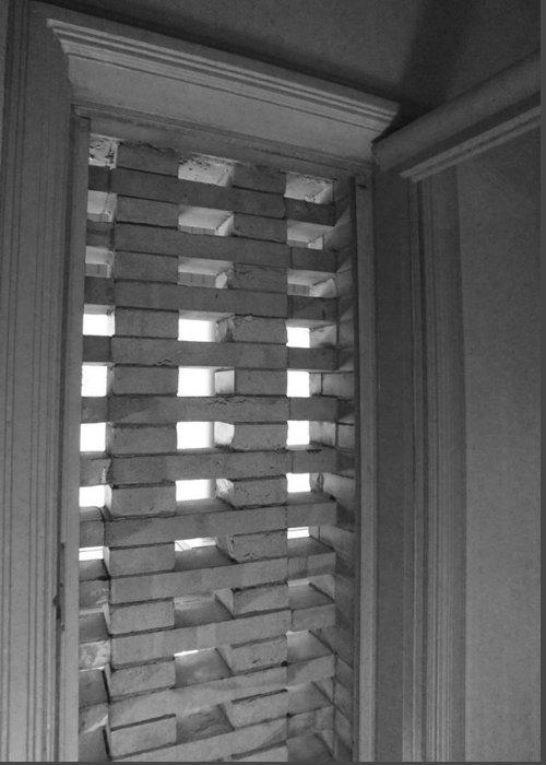 Bricks Greeting Card featuring the photograph Bricks In The Window by Anna Villarreal Garbis