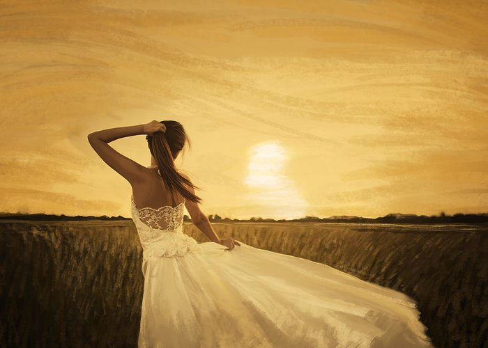 Adult Greeting Card featuring the painting Bride In Yellow Field On Sunset by Setsiri Silapasuwanchai