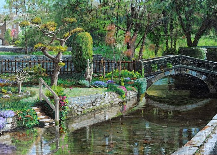 Scenic; Peak District; Garden; Flowers; Flower; Tranquil; Serene; English Landscape; Bridge; Bakewell; Derbyshire ; Tree; Trees; Water; Stairs Greeting Card featuring the painting Bridge And Garden - Bakewell - Derbyshire by Trevor Neal