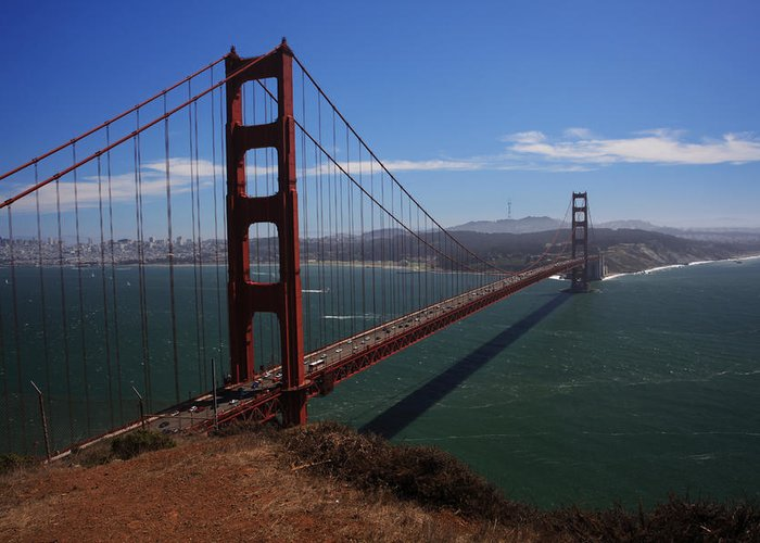 Golden Gate Bridge Greeting Card featuring the photograph Bridge Of Dreams by Laurie Search