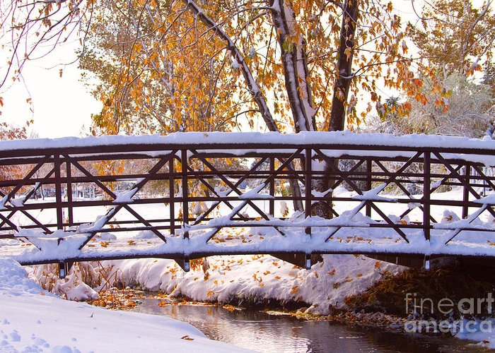 Autumn Greeting Card featuring the photograph Bridge Over Icy Waters by James BO Insogna