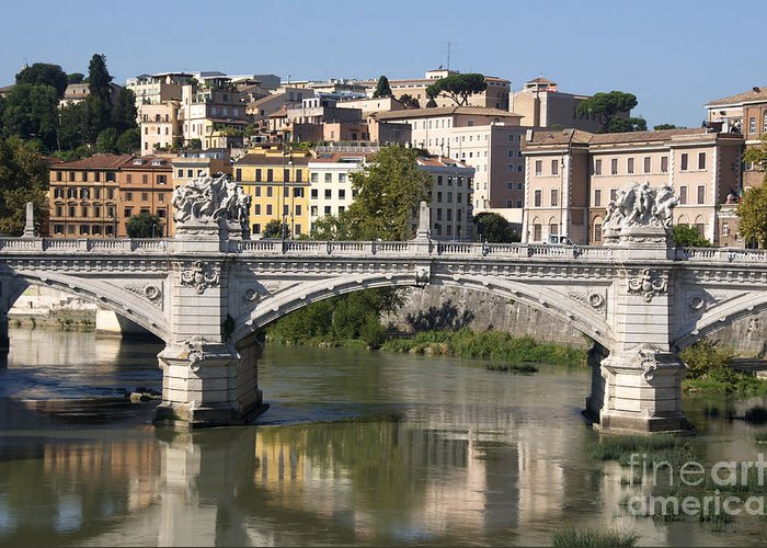 Emmanuel Ii Greeting Card featuring the photograph Bridge Ponte Vittorio II. River Tiber.rome by Bernard Jaubert