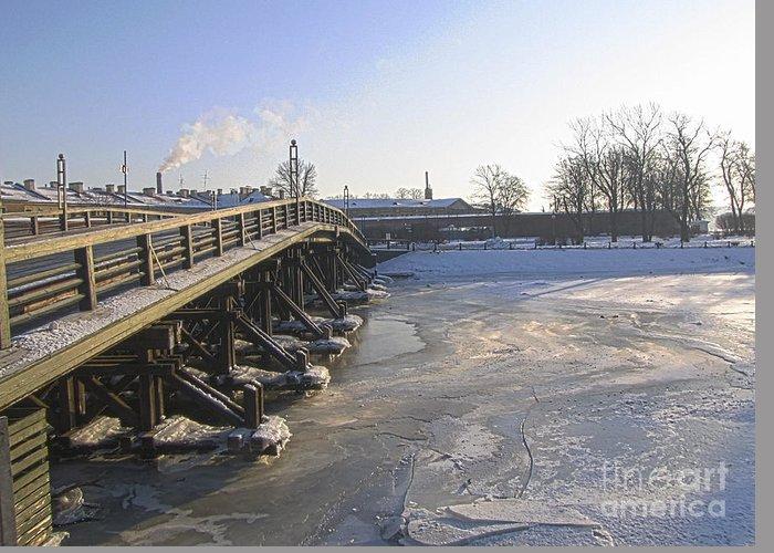 Peterburg Greeting Card featuring the photograph Brige by Yury Bashkin