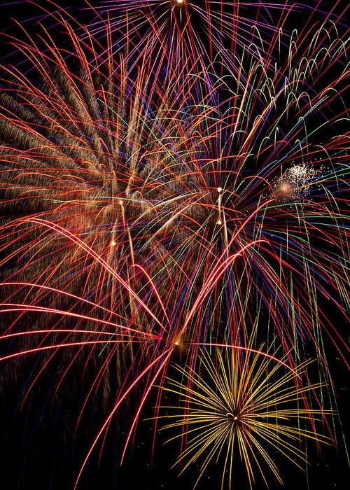Fireworks 4th Of July Greeting Card featuring the photograph Bright Colorful Fireworks by Garry Gay