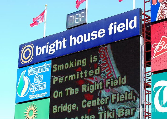 Philadelphia Phillies Greeting Card featuring the photograph Bright House Field by Carol Christopher
