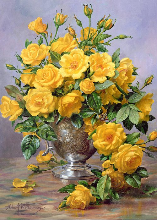 Yellow; Joyful; Rose; Still Life; Flower; Arrangement; Floral; Happiness; Roses; Vase; Silver Vase; Flowers; Rose Petals On The Floor; Roses On The Floor Greeting Card featuring the painting Bright Smile - Roses In A Silver Vase by Albert Williams