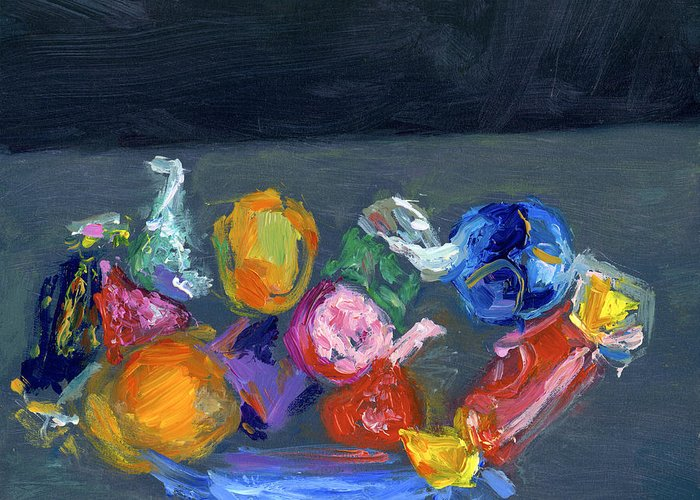 Candy Greeting Card featuring the painting Bright Things by Scott Bennett