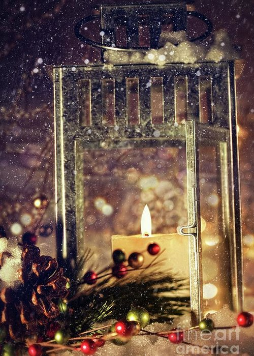 Background; Burn; Candle; Christmas; Cold; Color; Decoration; Evening; Fire; Glass; Holiday; Ice; Lamp; Lantern; Light; New; Night; Red; Season; Snow; Warm; Winter; Xmas; Year; Yellow; Santa; Claus; Snowy; Greeting Card featuring the photograph Brightly Lit Lantern In The Snow by Sandra Cunningham