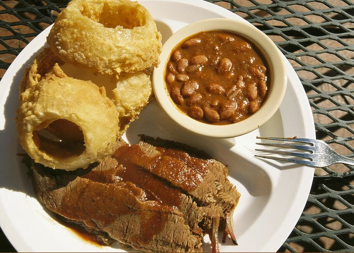 North America Greeting Card featuring the photograph Brisket, Beans, & Rings At Famous Sonny by Richard Nowitz