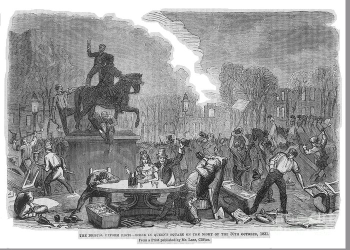 1831 Greeting Card featuring the photograph Bristol: Reform Riot, 1831 by Granger