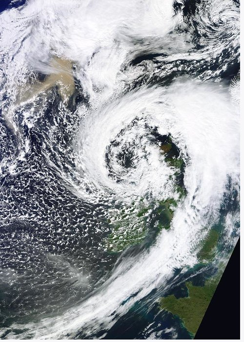 Grimsvotn Greeting Card featuring the photograph British Isles Storm And Ash Plume, 2011 by University Of Dundee