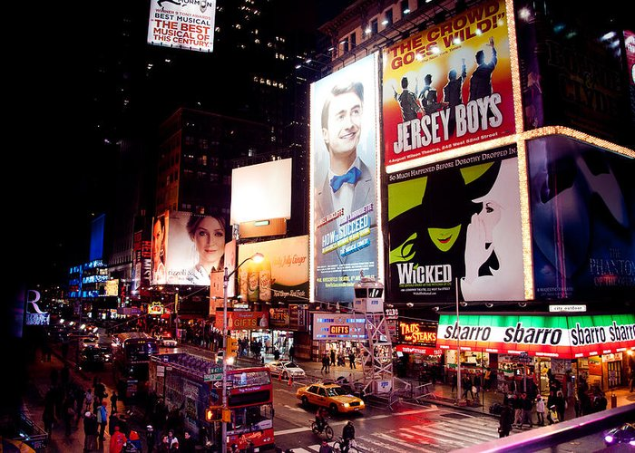 Times Square Colors Greeting Card featuring the photograph Broadway At Times Square by Heidi Reyher