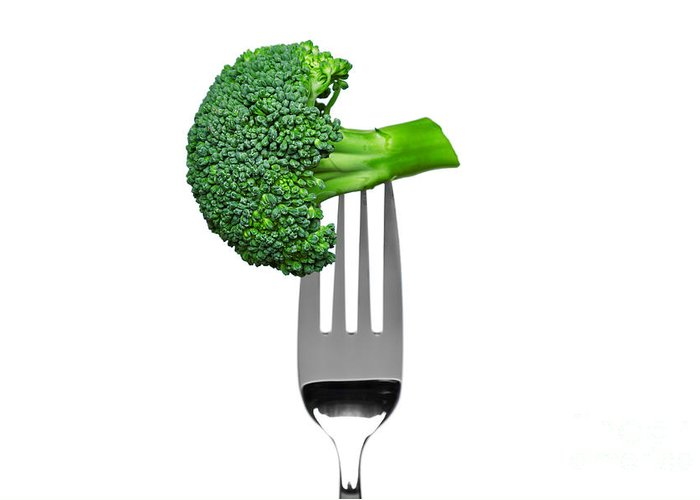 Broccoli Greeting Card featuring the photograph Broccoli On A Fork Isolated On White by Richard Thomas