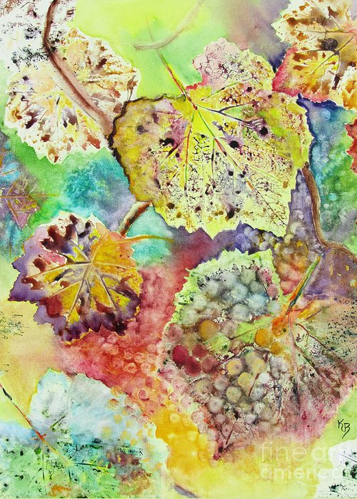 Vines Greeting Card featuring the painting Broken Leaf by Karen Fleschler