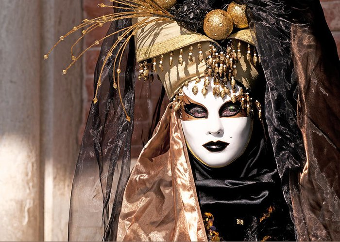 Venice Greeting Card featuring the photograph Bronce Mask by Karin Haas
