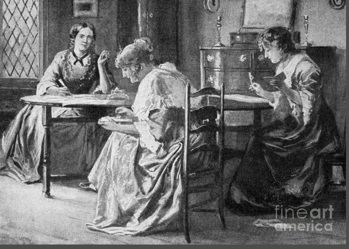 1840s Greeting Card featuring the photograph Bront� Sisters by Granger