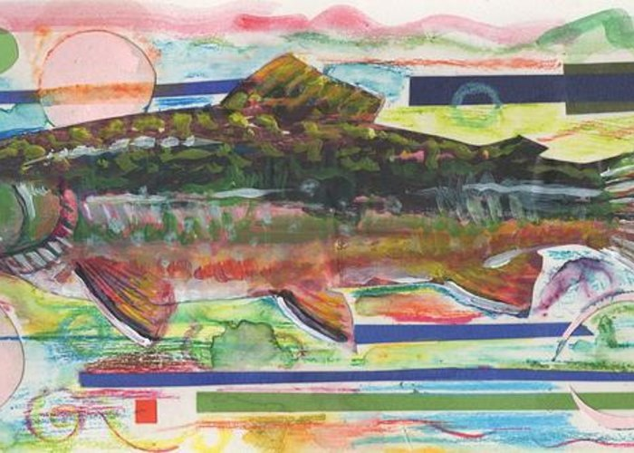 Trout Greeting Card featuring the painting Brook Trout 1 by Michelle Grove