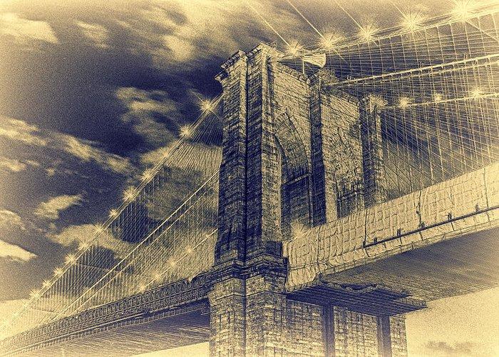 Brooklyn Bridge Greeting Card featuring the photograph Brooklyn Bridge At Night - Blue Daguerreotype by Alex AG