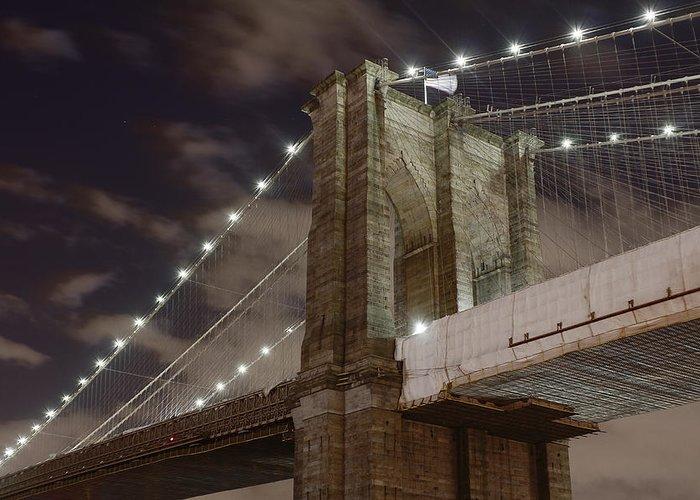 Brooklyn Bridge Greeting Card featuring the photograph Brooklyn Bridge At Night - Btc-merge by Alex AG