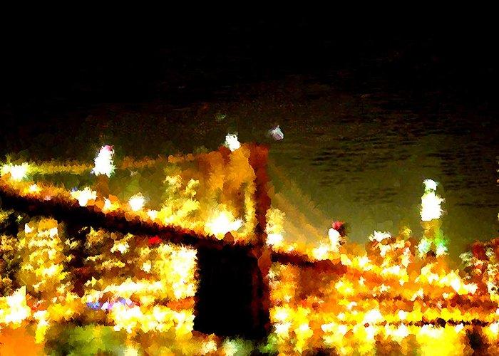 Brooklyn Bridge Greeting Card featuring the digital art Brooklyn Bridge by Joseph Contello