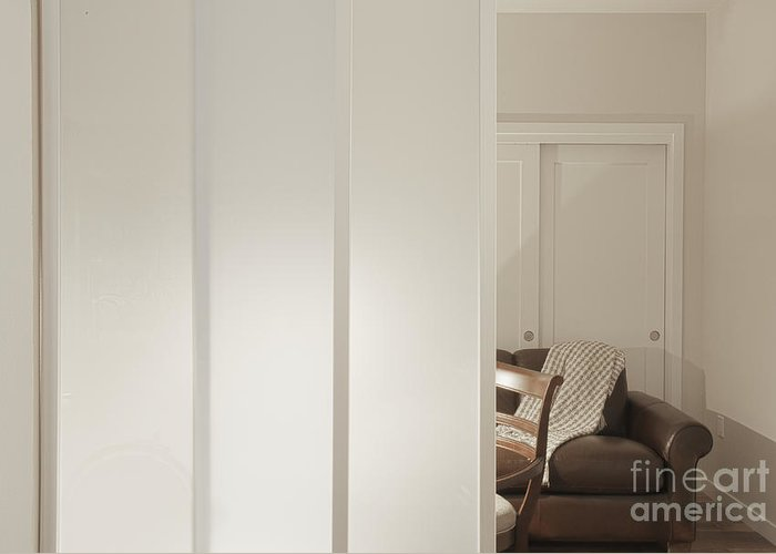 Architectural Detail Greeting Card featuring the photograph Brown Leather Sofa Seen Through Open Door by Andersen Ross