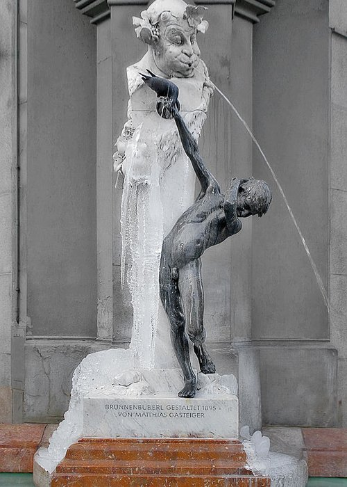 Art Nouveau Greeting Card featuring the photograph Brunnenbuberl - Boy At The Fountain - Munich Germany by Christine Till