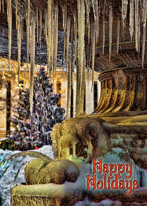 Happy Holidays Greeting Card featuring the photograph Bryant Park Fountain Holiday by Chris Lord