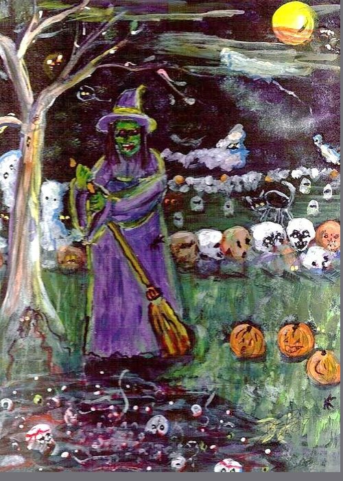 Halloween Greeting Card featuring the photograph Bubbling Skulls by Debbie Wassmann
